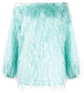 Rotate off-shoulder fake-feather top