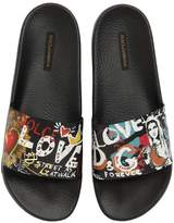 Dolce & Gabbana Graffiti Rubberized Leather Slide Sandal