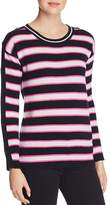 Minnie Rose Button-Sleeve Striped Cashmere Sweater