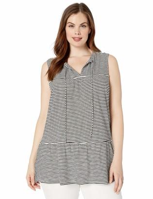 Lucky Brand Women's Plus Size Ruffle Stripe TOP