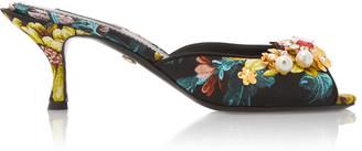 Dolce & Gabbana Floral-Print Jacquard-Leather Mules