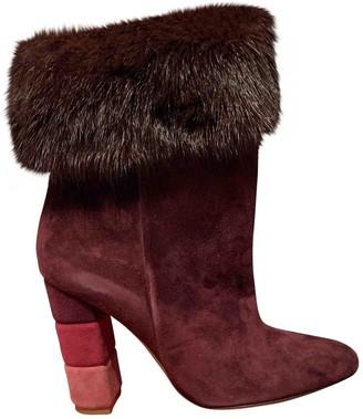 Salvatore Ferragamo Burgundy Suede Ankle boots