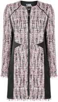 Karl Lagerfeld satin panel bouclé coat