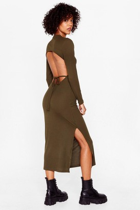 Nasty Gal Womens Snap Open Back to Reality Tie Midi Dress - Olive