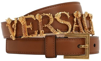 Versace 20mm Gold Logo Leather Belt