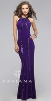 Faviana Linear Sequins Jersey Prom Dress