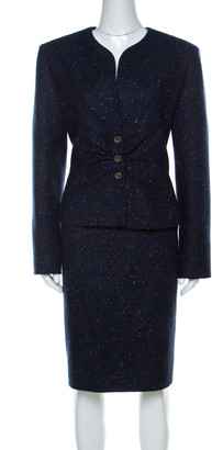 Valentino Dark Blue Patterned Tweed Wool Blazer and Skirt Set XL