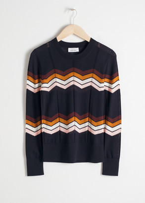 And other stories Zig Zag Merino Wool Sweater
