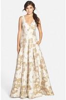 Aidan Mattox 54465090 Sleeveless V Neck Box Pleated Long Dress