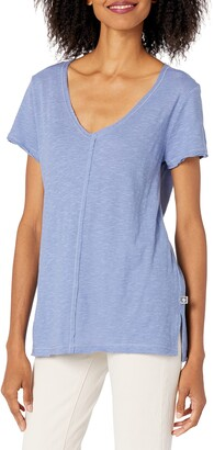 Anne Klein Jeans Women's Ak Sport Avie Raw Edge Jersey V-Neck Tee Shirt