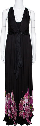 Roberto Cavalli Black Floral Printed Jersey Bead Embellished Maxi Dress M