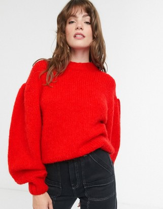 And other stories & puff sleeve fluffy jumper in red