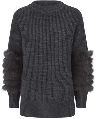 Max & Moi Fox Fur Cuff Sweater