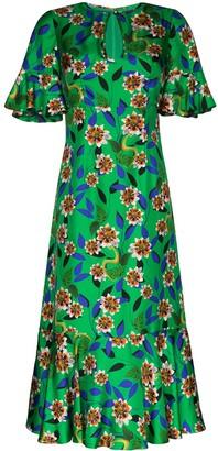 Borgo de Nor Vivian ruffled floral-print silk midi dress