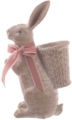 Transpac Resin 15In Brown Easter Bunny With Basket Planter Statuette