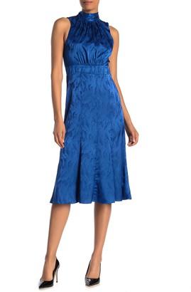 Donna Morgan Sleeveless Tie Halter Jacquard Dress