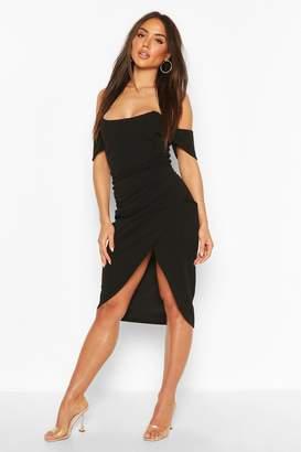 boohoo Off The Shoulder Corset Wrap Midi Dress