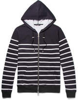 Balmain Striped Loopback Cotton-Jersey Zip-Up Hoodie