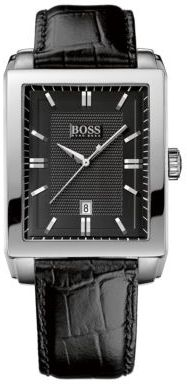 HUGO BOSS Men's Black Rectangular Dial Watch