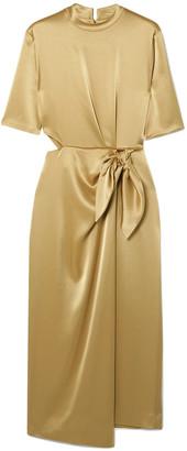 Nanushka Saffron Cutout Metallic Satin Midi Dress