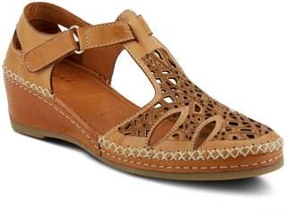 Spring Step Leather Wedge Heel T-Strap Sandals- Irin