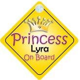 mybabyonboard UK Princess Lyra On Board Girl Car Sign Child/Baby Gift/Present 002
