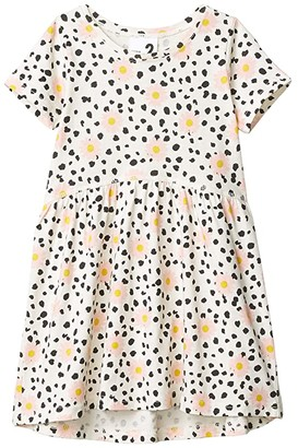 Cotton On Freya Short Sleeve Dress (Toddler/Little Kids/Big Kids) (Dark Vanilla/Leopard Daisy) Girl's Clothing