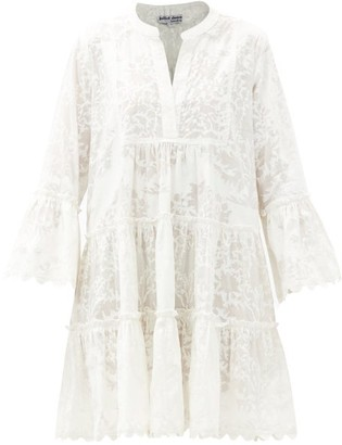 Juliet Dunn Fluted-sleeve Palladio Block-print Cotton Dress - White