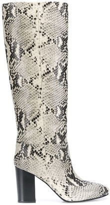 Twin-Set Snakeskin Effect Knee-High Boots