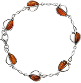 Goldmajor Sterling Silver Amber Split Apple Bracelet, Silver/Cognac