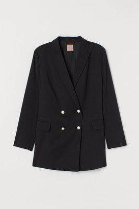 H&M H&M+ Double-breasted Jacket - Black