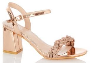Dorothy Perkins Womens Quiz Rose Gold Heeled Sandals, Rose Gold