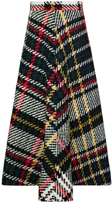 Rosie Assoulin Plaid Flared Skirt