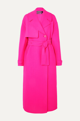 Jacquemus Sabe Oversized Neon Wool Trench Coat - Pink