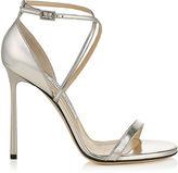 Jimmy Choo HESPER 110 Silver Mirror Leather Sandals