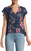 Joie Crisbell V-Neck Floral-Print Silk Top