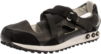 Y-3 Black Suede And Leather Strappy Velcro Sandal Sneakers Size 42