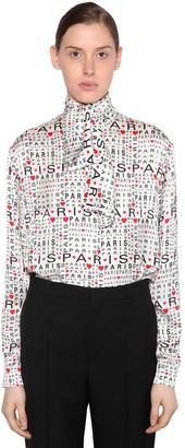 Balenciaga Love Paris Silk Jacquard Blouse