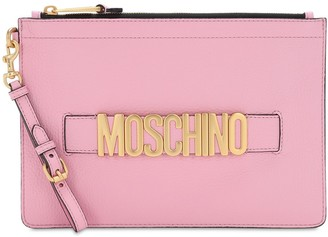 Moschino Grained Leather Pouch W/ Logo