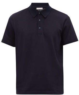 Moncler Logo-placket Cotton-pique Polo Shirt - Navy