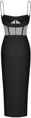Rasario Black Tulle Bustier Dress