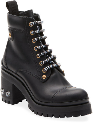 Miu Miu Lace-Up Leather Lug-Sole Hiker Boots