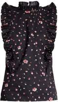 Rebecca Taylor Mia floral-print ruffled-collar cotton top