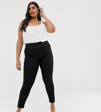 Asos DESIGN Curve pull on jegging in clean black with wide waist band detail