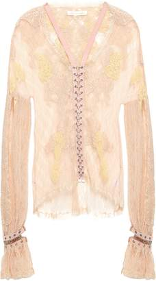 Jonathan Simkhai Ring-embellished Faux Suede-trimmed Corded Lace Blouse