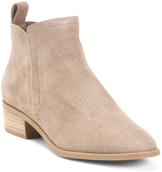 Perforated Stacked Heel Suede Ankle Booties