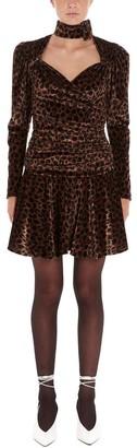 ATTICO Leopard Print Draped Mini Dress