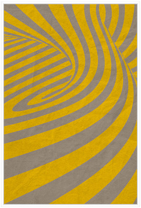 Jonathan Bass Studio Yellow Swirls D, Decorative Framed Hand Embellishe