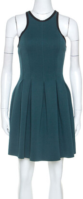 Alexander Wang Green Stretch Knit Neoprene Pleated Dress XS