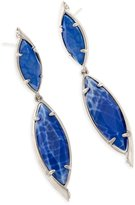 Kendra Scott Maisey Hourglass Earrings in Rhodium Plated Crackle Blue Agate and Cubic Zirconia Pave